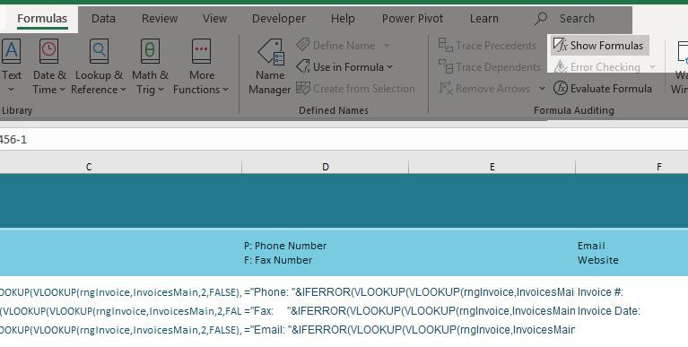 Formulas show formulas Excel