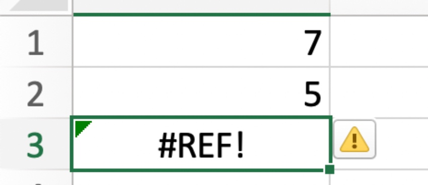 #ref! in Excel