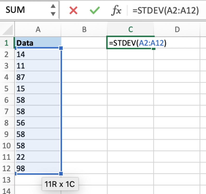 Standard error in Excel