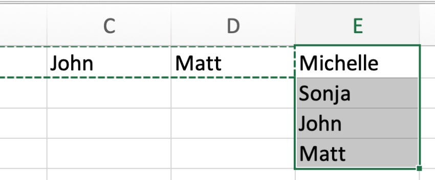 Transpose data in Excel