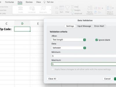 Excel data validation
