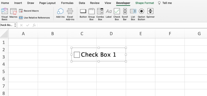 Insert check boxes in Excel
