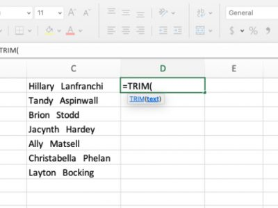 Trimming Excel