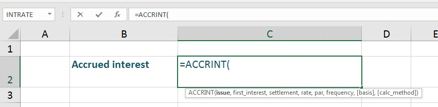 accrued interest in Excel first