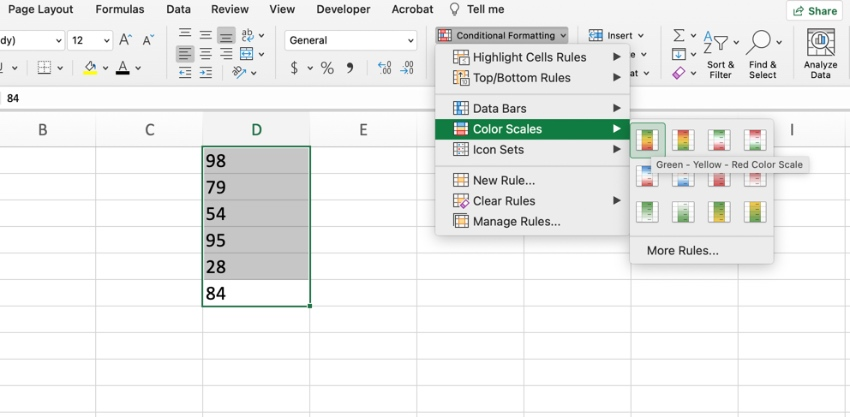 Add color scales in Excel