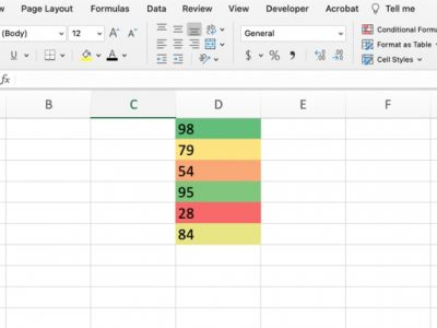 How to add color scales in Excel