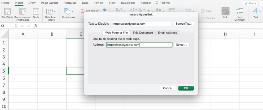 Insert hyperlinks in Excel