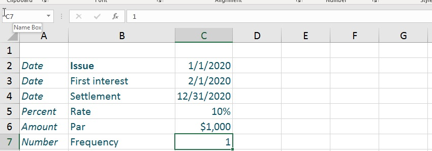 Table for accrued interest Excel