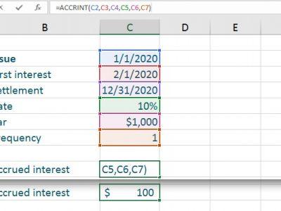 typed accrued interest Excel