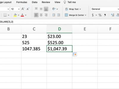 Dollar function in Excel
