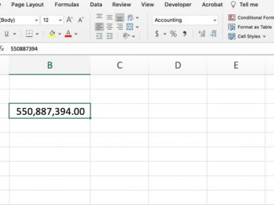 Excel comma style