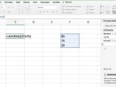 Formula builder Excel