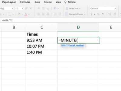 Minute in Excel