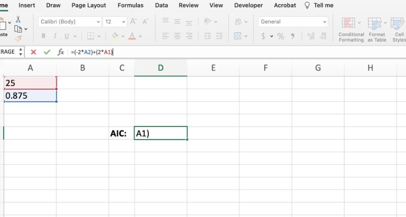 Akaikes information criterion Excel