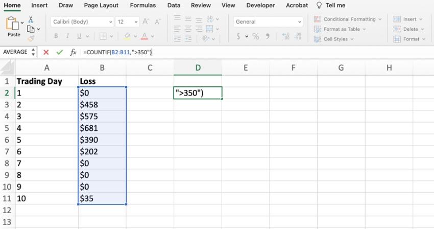 Backtesting Var in Excel