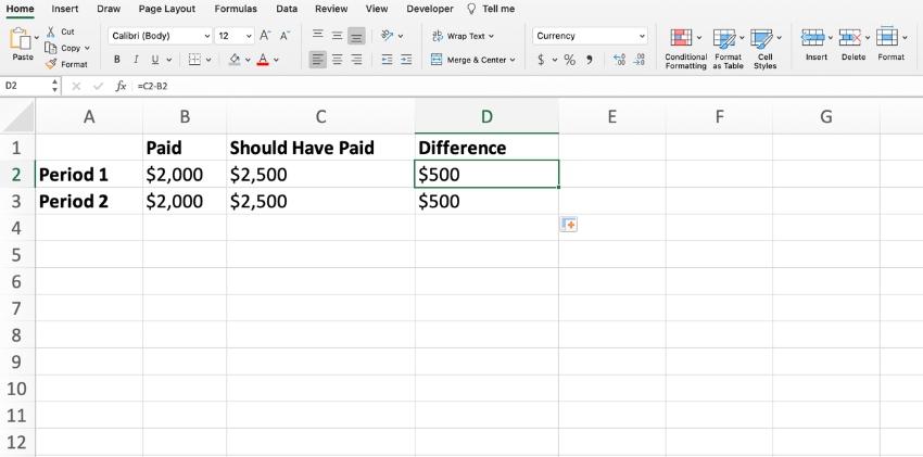 calculate arrearage in Excel