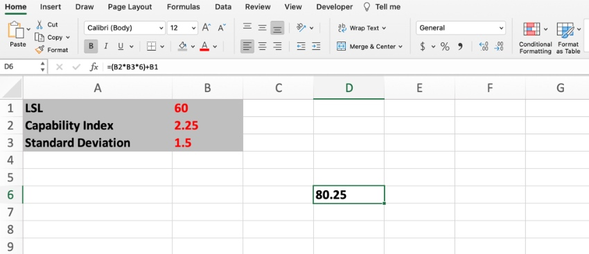 Calculate USl and LSL in Excel