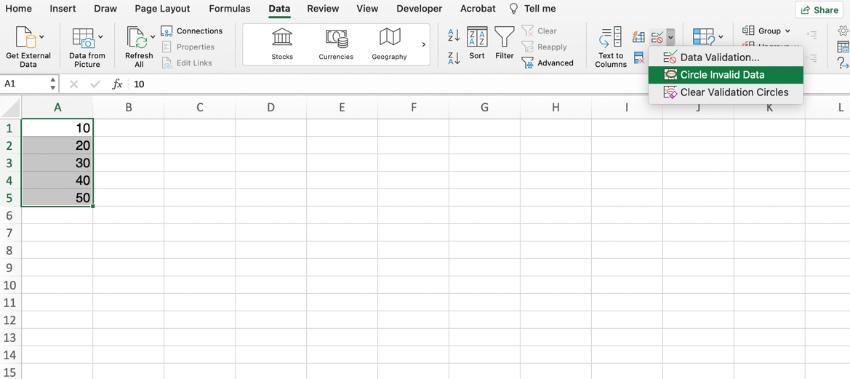 Circle invalid data Excel