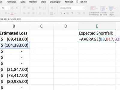Expected shortfall formula Excel