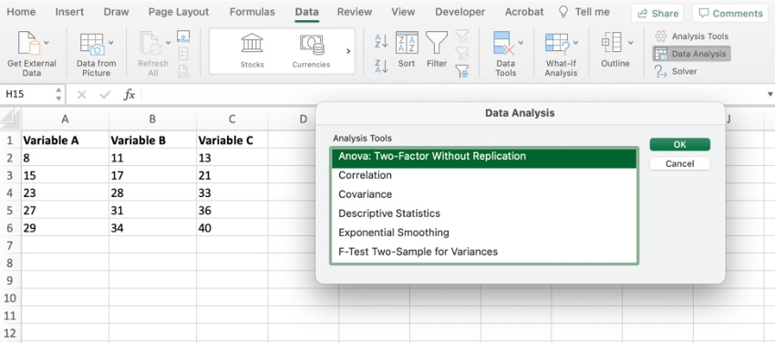 Factor analysis Excel