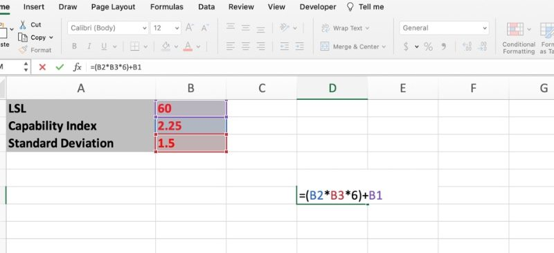 Find USL and LSL in Excel