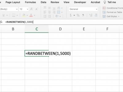 Generate fake data in Excel