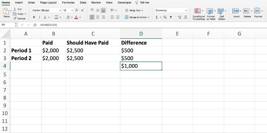 How to calculate arrears in Excel