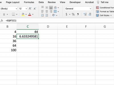 How to calculate RMS in Excel