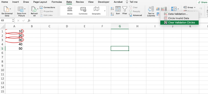 How to circle invalid data in Excel