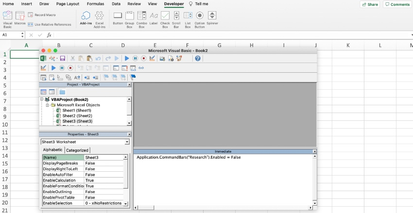 How to disable research in Excel