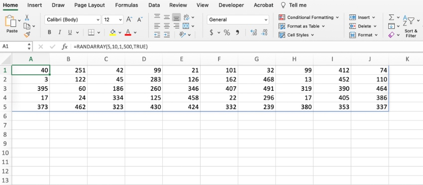 How to use Randarray in Excel