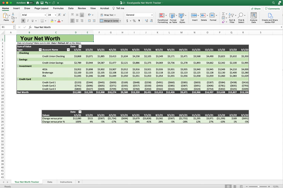 Net Worth Tracker Excel Template