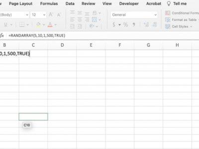 RANDARRAY formula in Excel