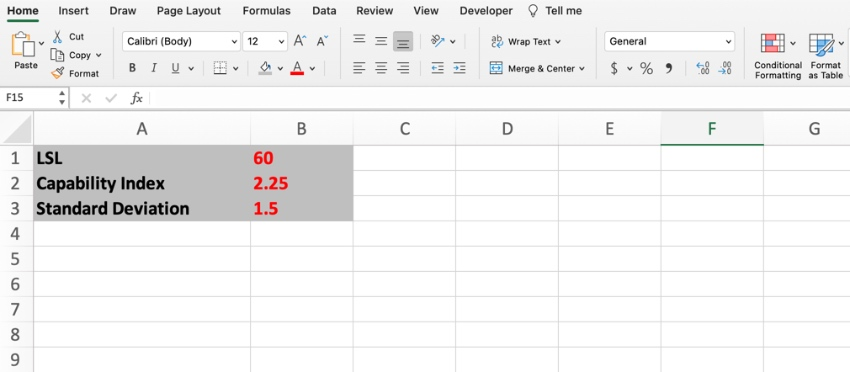 USL and LSL in Excel